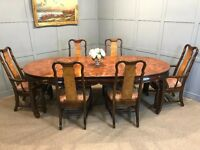 Chinese Table & 6 Chairs - Large Extendible Oval Table & Chairs - Asian
