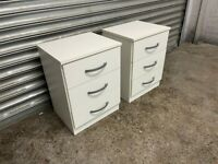 FREE DELIVERY TWO WHITE BEDSIDE TABLES WITH 3 DRAWERS GOOD CONDITION