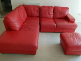 Leather sofa - RED