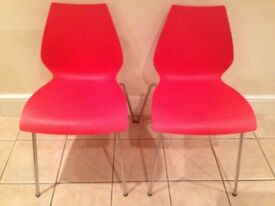 Kartell 'Maui' dining chairs x 2 RED