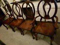 Set of 4 solid wood chairs