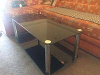 coffee table (black glass )
