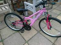Girls apollo mountain bike hardly been used suit 7 ish to 10 12 ish full suspension