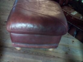 LEATHER AND BRASS STUDDED STOOL POUFFE