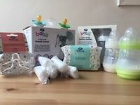 Baby bottles, breast pump, dummies