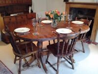 Oak oval dining table & 4 chairs