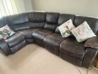 Leather electric reclining sofa, plus foot stool