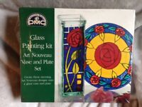 DMC CREATIVE WORLD GLASS ART NOUVEAU PAINTING KIT WITH VASE AND PLATE SET. NEW.
