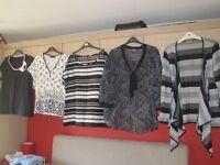 5 black/white/grey tops/blouses, size 18