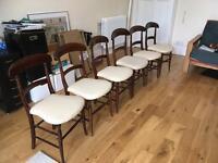 6 Dainty Georgian Dining Chairs, Hand-carved Wood