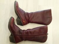 Art calf length boots size 6 39 dark red