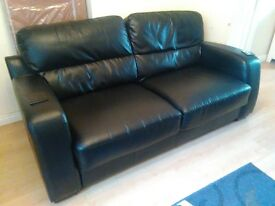 Black Leather 3 and 2 Seater Sofas