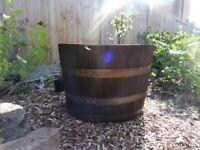 Garden Planter — Solid Oak Half Barrel (Charcoal Black)