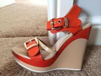 Ladies patent wedge high heel sandals