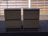 For Sale; a set of 2 Second-hand Malm Oak Veneer Bedside Tables in very good condition.