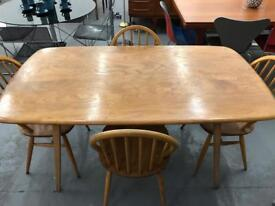 Amazing Mid Century Modern ercol retro plank table and chairs. Superb vintage condition.