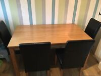 Table and 4 leather chairs
