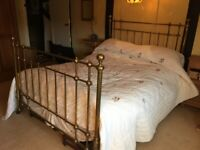 """Antique Brass Bed 5 ft x 6ft 6"""" King Size bought from Harrods in 1970's"""