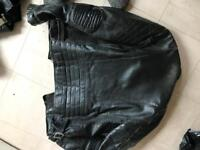 Leather motorcycle jacket and trousers size 38