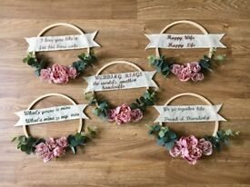 Wedding decoration. Floral wreaths. Shabby chic. Vintage decor