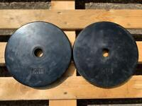 2 x 5kg Unbranded Standard Rubber Weight Plates (Delivery Available)