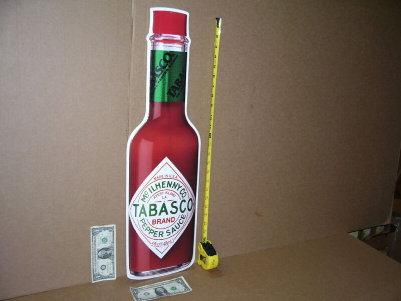 "TABASCO SAUCE - Avery Island Louisiana -- 27""GIANT Bottle - RESTAURANT SIZE SIGN"