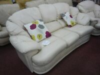 White, Leather 3 seater sofa and arm chair