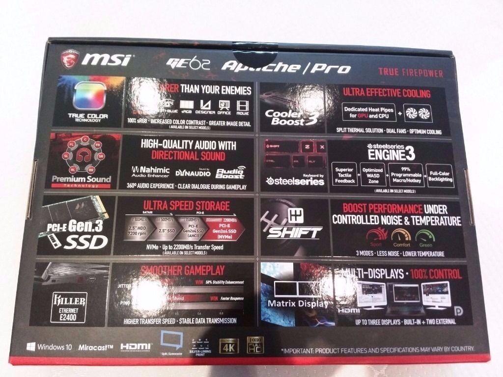 MSI GE62 (Nvidia gtx970m 3gb i7 5700 16gb win 10) 128gb