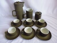 Vintage Denby Chevron Coffee Set for 6 Coffee Pot Milk Jug Sugar 6 x Cups Saucer