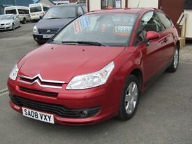 08/08 Citroen C4 Cool 1.6 Coupe 3dr, Wicked Red. **MOT April 2019, Full History, 2 Owners**
