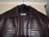 FIORELLI VINTAGE LEATHER BIKER STYLE JACKET - PLUM COLOURED - SIZE 14
