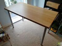 IKEA ADLIS / LINNMON Oak and Silver Table / Desk – Excellent Condition