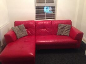 Sensible offers considered! DFS Red leather corner sofa & chaise