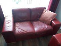 ItalianNatuzzi red leather 3+2 sofa