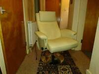 Reclining massage chair with massage stool