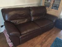 Brown Leather - 3 Seater Manual recline sofa & 1 Electric Recline Chair