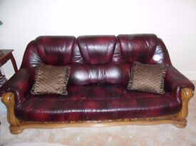 3 Seater 3 drawer Leather Sofa with carved wooden frame