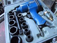 Draper air wrench & 10 sockets in box