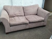 LARGE GREY TWO SEATER SOFA MOLE SKIN FABRIC EXCELLENT CONDITION FREE LOCAL DELIVERY AVAILABLE