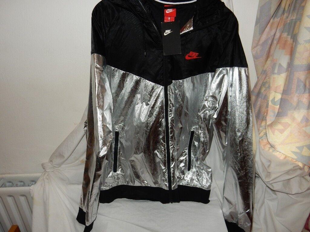 Nike NSW Men s Woven Windrunner Jacket Metallic Silver UK L  1847b8a92
