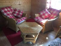 Garden wicker coffee table and two chairs