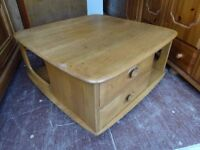 Vintage Ercol Elm Pandora's Box Coffee Table,Can deliver