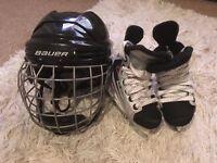 BAUER Ice hockey Skates (Youth size 9)& Helmet