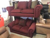 Littlewoods dark red luxurious fabric 3 and 2 seater sofa set three plus two maroon scroll arm