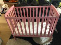 Pink space saver cot / compact cot & mattress