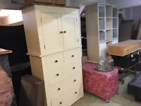LARGE CREAM AND SOLID PINE HEAVY CUPBOARD WITH DRAWERS UNDERNEATHER