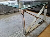 glass chrome coffee table £20, £269 when new