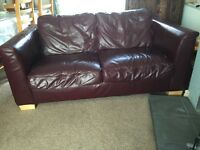 BURGANDY LEATHER SOFA'S