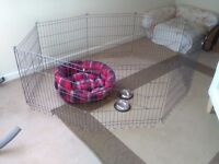 Puppy pen ( 23 inches high ) small dog bed. 2 small bowls.