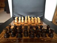 Hand Caved Wooden travel chess Set.